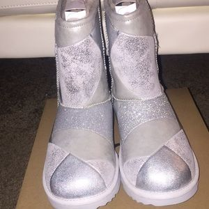 Silver patched Glittered Vans